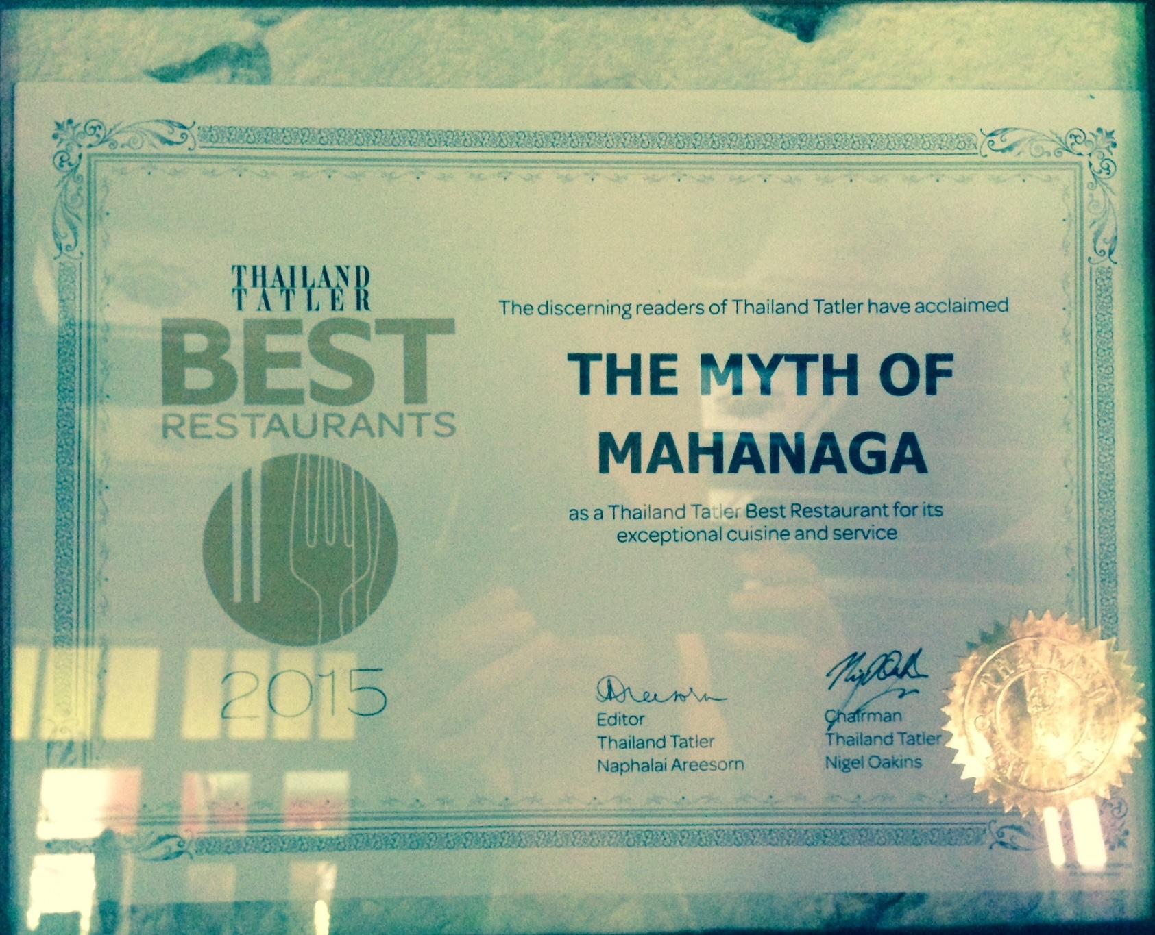 MahaNaga-Thailand Tattler Best Restaurant Awards 2015